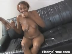 Black Ghetto Bitch Gets An Intense Face Banging