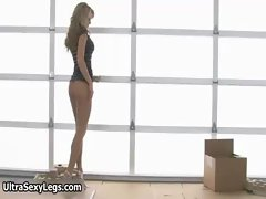Randy blondie young woman with strong sensual legs