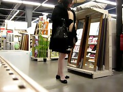 crossdresser ajusting her stockings