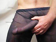 Thick Prick Grows And Cums Through Mesh Pants