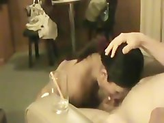 Thai lassie giving a nice dick sucking to experienced man and swallows cum